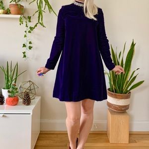 Mod 1960s purple velvet babydoll mini dress S/M